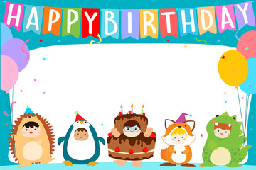 cute boys and girls in fancy costumes for birthday party template vector