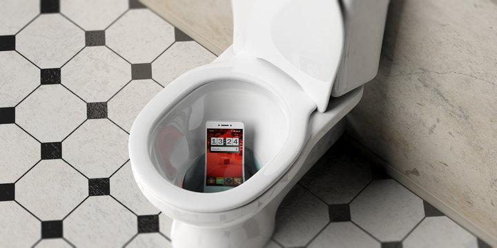 Mobile phone dropped in bathroom toilet bowl, 3d illustration