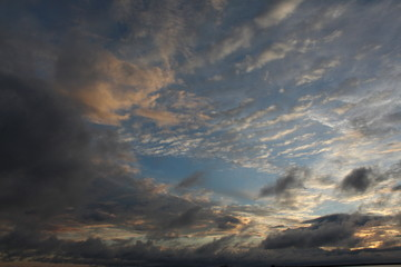 Scattered clouds cloudscape with sun glow