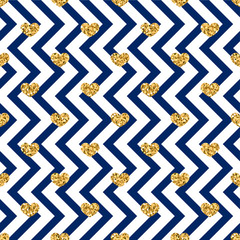 Gold heart seamless pattern. Blue-white geometric zig zag, golden confetti-hearts. Symbol of love, Valentine day holiday. Design wallpaper, background, fabric texture. Vector illustration