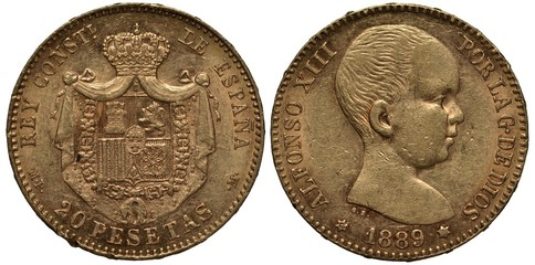 Spain, Spanish coin 20 twenty pesetas 1889, shield surrounded by collar of the order in front of mantle, crown above, younger head of king Alfonso XIII right, gold,