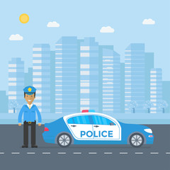 Police patrol on a road with police car, officer, city, nature landscape.