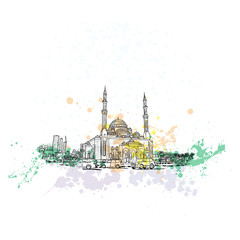 Dubai district Mosque, hand drawn sketch with watercolor splashes and skyscrapers in UAE. Illustration, vector.