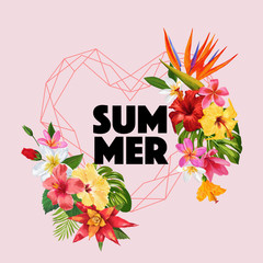 Hello Summer Tropic Design. Tropical Hibiskus Flowers Background for Poster, Sale Banner, Placard, Flyer. Floral Vintage Composition. Vector illustration