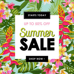 Summer Sale Tropical Banner. Seasonal Promotion with Plumeria Flowers and Palm Leaves. Floral Discount Template Design for Poster, Flyer, Gift Certificate. Vector illustration