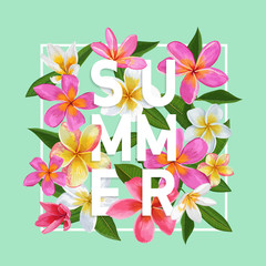 Summertime Floral Poster. Tropical Pink Plumeria Flowers Design for Banner, Flyer, Brochure, Fabric Print. Hello Summer Watercolor Background. Vector illustration