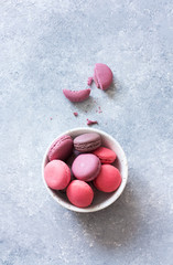 Colorful French or Italian macaroons