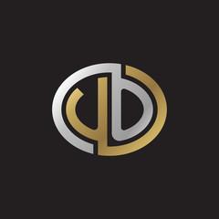 Initial letter UO, looping line, ellipse shape logo, silver gold color on black background
