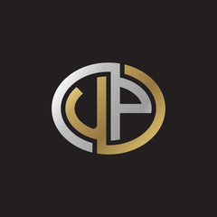 Initial letter UP, looping line, ellipse shape logo, silver gold color on black background