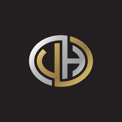Initial letter VH, UH, looping line, ellipse shape logo, silver gold color on black background