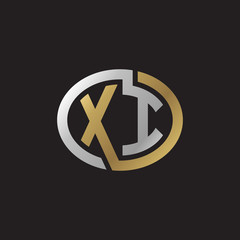 Initial letter XI, looping line, ellipse shape logo, silver gold color on black background