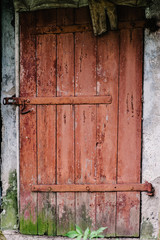 Old wooden door is not closed on the lock. Peeling paint. House. Barn. Doors red. Covered with moss. The door to the hinges.