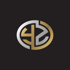 Initial letter YZ, looping line, ellipse shape logo, silver gold color on black background