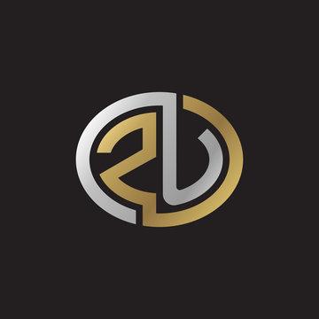 Initial letter ZU, looping line, ellipse shape logo, silver gold color on black background