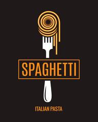 Spaghetti on fork design. Italian pasta logo on black background