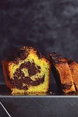 Chocolate orange marble cake isolated