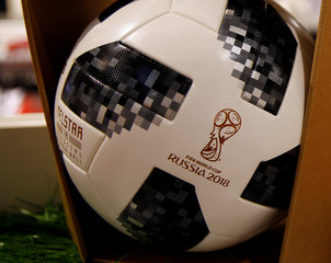 The official 2018 Fifa World Cup Russia ball is on display in a sports store in Innsbruck