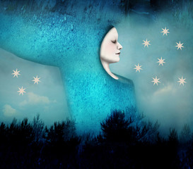 Foto op Canvas Surrealisme Beautiful artistic image of a woman sleeping in a surreal night landscape