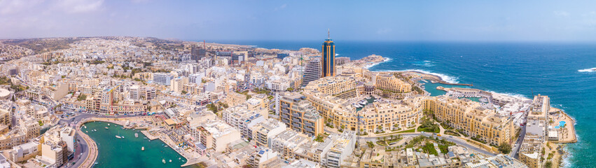 Fototapete - Beautiful aerial view of the Spinola Bay, St. Julians and Sliema town on Malta.