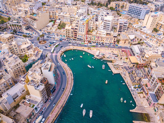Beautiful aerial view of the Spinola Bay, St. Julians and Sliema town on Malta.