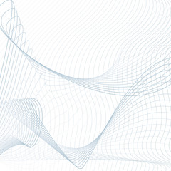 Blue net pattern on white background. Scientific and technical template. Line art modern sci-tech design, wavy technology grid. Abstract futuristic waving lines. Vector EPS10 illustration