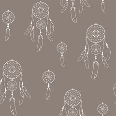 Ethnic Indian seamless pattern with white silhouettes of dreamcatchers. Vector.
