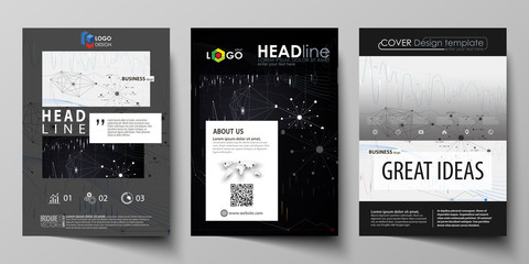 Business templates for brochure, flyer, annual report. Cover design template, vector layout in A4 size. Abstract infographic background with lines, symbols, diagrams and other elements.