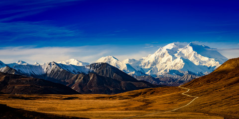 HDR Panorama of Denali from Stony Hill overlook taken in the fall Wall mural