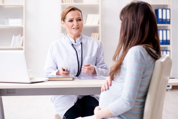 Pregnant woman visiting doctor for regular check-up