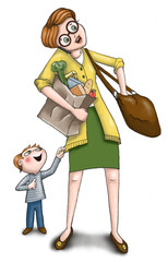 Mom Holding Groceries