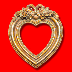 Heart Shape Picture Frame on red background