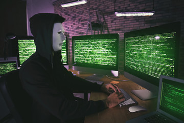 Masked hacker using computer in dark room. Threat of cyber attack