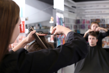 Female hairdresser with client in salon
