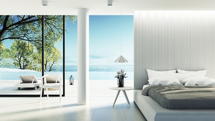 Beach bedroom interior - Modern & Luxury vacation / 3D render image