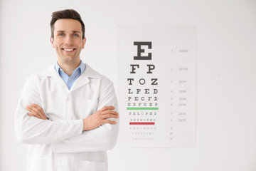 Young ophthalmologist near eye chart indoors Wall mural