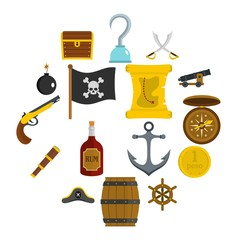 Pirate icons set in flat style isolated vector illustration