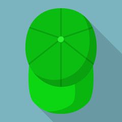 Top view of green baseball cap icon. Flat illustration of top view of green baseball cap vector icon for web design