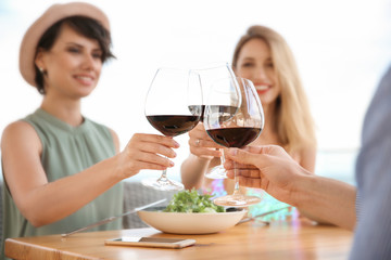 Group of friends with glasses of wine at table