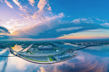 Panorama of St. Petersburg. Krestovsky Island. The Gulf of Finland. District road in St. Petersburg. Stadium. Architecture of Petersburg. Russia. Morning over the Neva River. Russian Federation.