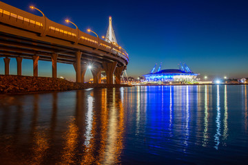 St. Petersburg. Krestovsky Island. Russia. The Neva River flows into the Gulf of Finland. High-speed highway. Stadium. Evening Petersburg. Cities of Russia. Bridges of Petersburg.