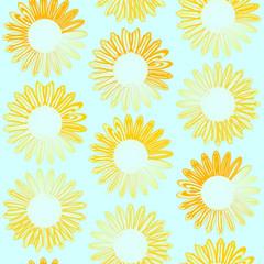 ひまわり シームレスパターン 黄青 グラデーション