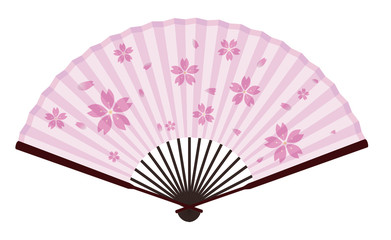 Ancient Traditional Asian Fan with Sakura On It