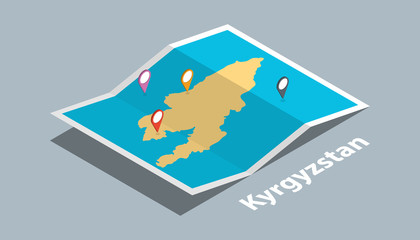 explore kyrgyzstan maps with isometric style and pin marker location tag on top