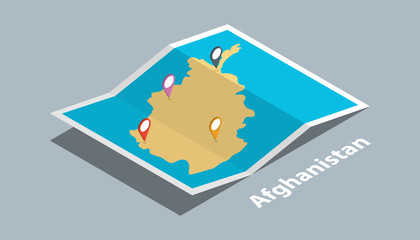 explore afghanistan maps with isometric style and pin marker location tag on top