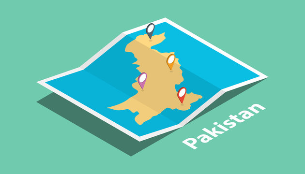 explore pakistan maps with isometric style and pin marker location tag on top