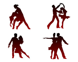 Silhouettes of four dancing couples