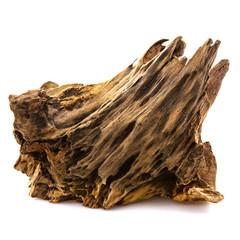 Fototapeta Piece of well worn driftwood on a white background obraz
