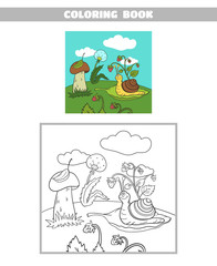 Coloring Book Forest Snail
