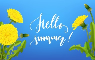 Greeting card hello summer dandelion background lettering. Invitation banner for party in blue colors with flowers. Vector illustration