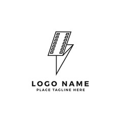 lightning film strip logo brand. folded thunderbolt movie illustration. simple outline style symbol
